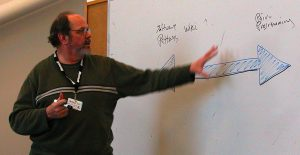 photo of Ward Cunningham writing on a white board.