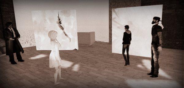 Avatars looking at 2D artworks