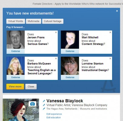 "screen cap of LinkedIn ""recommend your colleagues"" screen"