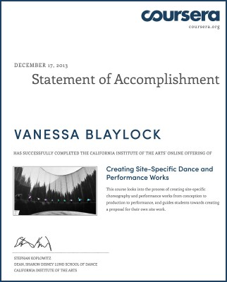 Certificate for Site Dance course from Stephan Koplowitz / CalArts / Coursera