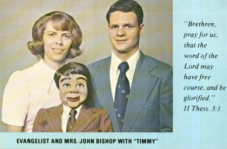 photo of a husband & wife & ventriloquist dummy