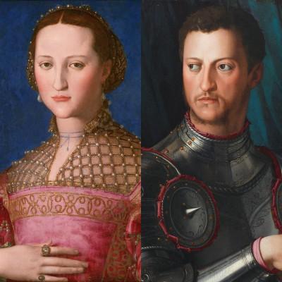 diptych of 2 portraits: Eleonora di Toleco and Cosimo I de Medici