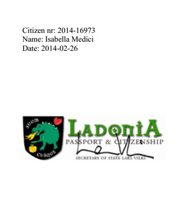 Isabella Medici's certificate of Ladonia citizenship