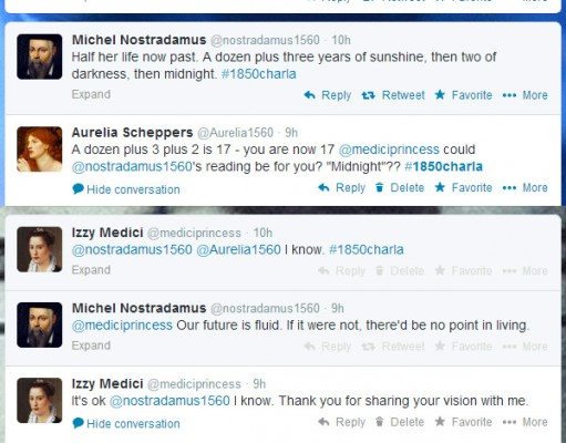 screen cap of tweet chat featuring Nostradamus cryptic prediction