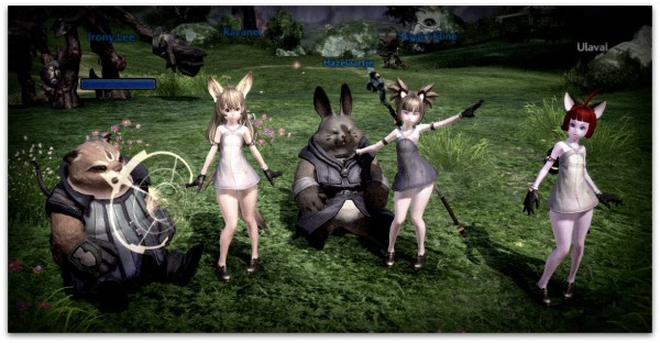 5 avatars sit in a (monster encircled) pastoral clearing in the MMORPG of Tera