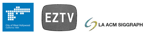 logos for the ONE Night event: City of West Hollywood, EZTV, LA ACM Siggraph