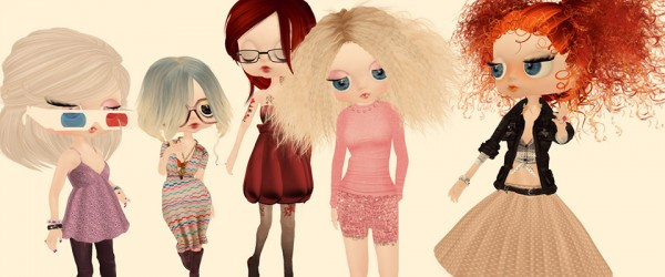 illustrations of avatars / dolls in a group