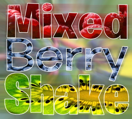 "typography of ""Mixed Berry Shake"" with the letters made out of different types of berries"