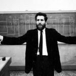 vintage black-and-white photo of Allan Kaprow teaching