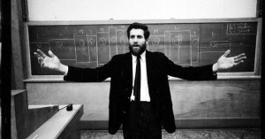 vintage black-and-white photo of Allan Kaprow teaching