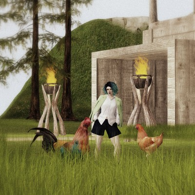Vanessa Blaylock strolls the grounds of LEA27 with a few farm animals