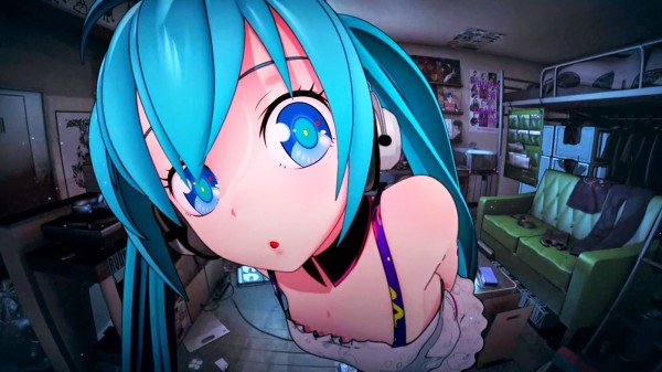 Hatsune Miku staring into the camera with an RL dressing room behind her