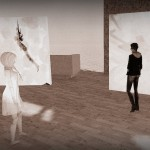 selenium toned photo of avatars in a gallery critiquing work