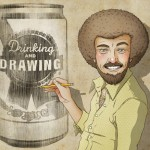 illustration of a man drawing a can of beer