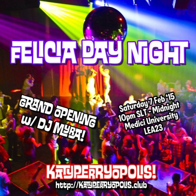 "poster of a busy dance club with superimposed text ""Felicia Day Night"""