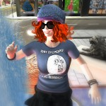 Photo of Agnes Sharple dancing in the fountain at Trafalgar Square in London and wearing a Kony 2012 t-shirt.