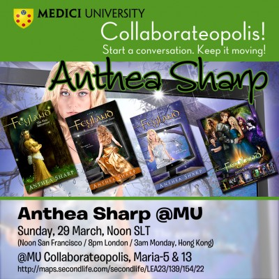 Poster for Anthea Sharp speaking at Medici University on Sunday29 March 2015