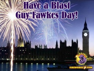 "photo of fireworks over parliament with the superimposed caption ""Have a Blast! Guy Fawkes Day!"""