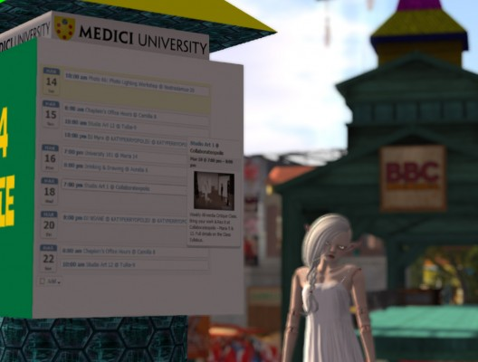 Medici University class, event, and activity schedule on a campus kiosk