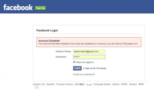 screen cap of Facebook page informing me that I've been banned by Facebook because they don't like my name.