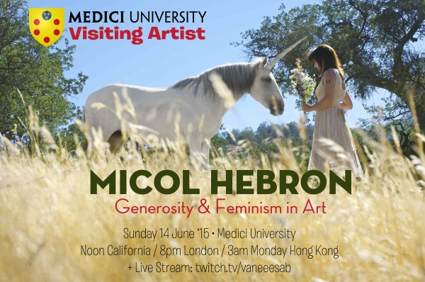 Poster for Micol Hebron talk at Medici University